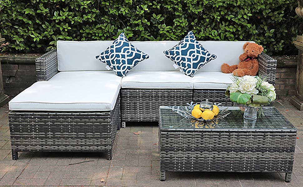 White and Gray Patio Furniture