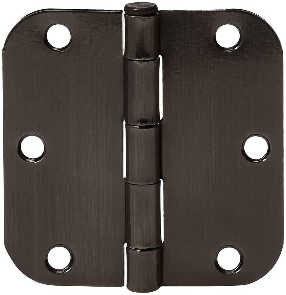 AmazonBasics Rounded 3.5 Inch x 3.5 inch Door Hinges, Matte Black, 18 pack