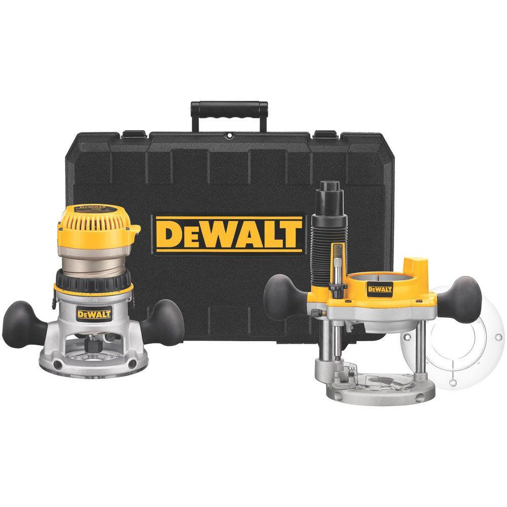 Dewalt Router, Fixed/Plunge Base Kit, variable speed, 1.25-HP max Torque (DW618B3)