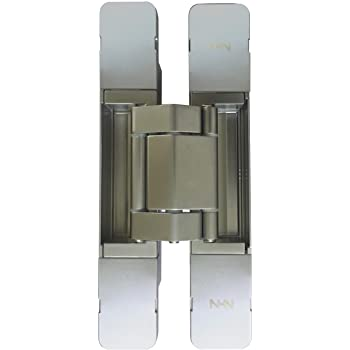 KT3D-190 Invisible Hinge, Set of Two (2), Up to 220lbs. Doors, Concealed and Streamline Door Hinge, 3-D Satin Chrome.